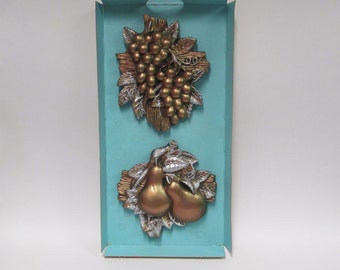 Vintage Miller Studios Harvest Fruits Chalk Ware Wall Decor, 1964 Copper Silver Tone Grapes Pears, 1960s Mid Century Plaques in Original Box