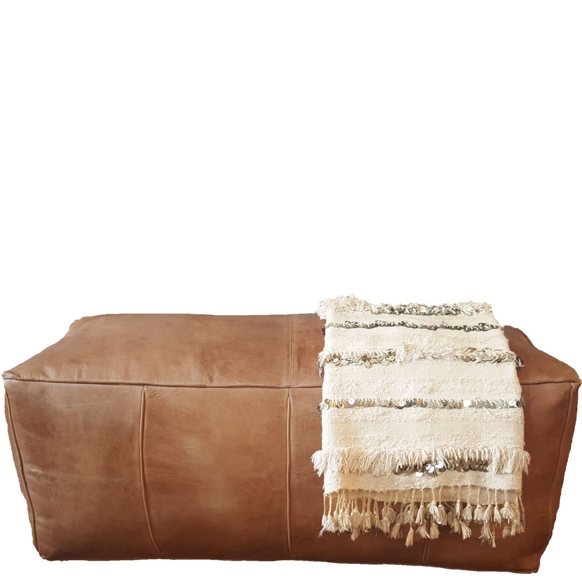 Long Leather Pouf Ottoman natural brown leather rectangle