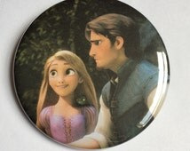 """Rapunzel and Flynn Rider Disney Tangled Celebrations Inspired 2-1/4"""" Pinback Button Upcycled Storybook Pin Badge Couple Flair Love"""
