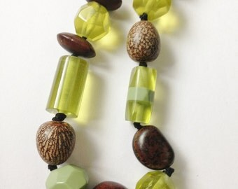 Necklace - sage green and brown plastic beaded high quality necklace retro design