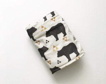 Crib Sheet Bears and Triangles. Fitted Crib Sheet. Baby Bedding. Crib Bedding. Minky Crib Sheet. Crib Sheets. Bear Crib Sheet.