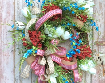 Front door wreath, Summertime Wreath,Patriotic Wreath, Red Hydrangea Wreath, Double Door Wreath,double door wreath,Summer wreath,door wreath