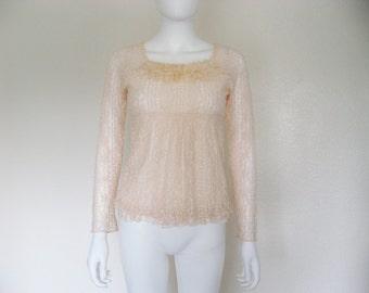 On Sale 90s Light Pink Lace Babydoll Shirt / 90s pastel goth grunge boho hippie clothing