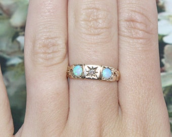 Vintage Antique Art Deco Opal Old Miner Diamond Ring Yellow Gold Band Great Gatsby