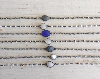 Stone Bezel Beaded Oxidized Silver Chain Chokers