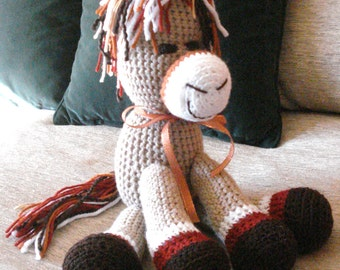 "Crocheted pony horse stuffed animal doll  toy ""Morris"""
