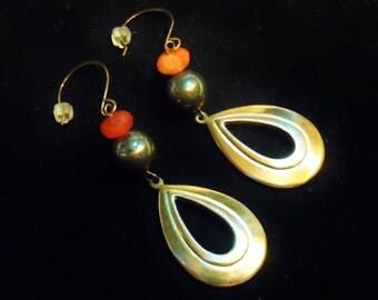 Brass Dangle Earrings with Orange Carnelian and Dark Golden Pyrite