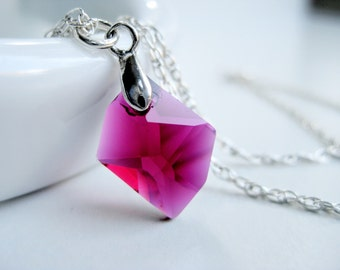 Magenta necklace pendant, Swarovski crystal ruby, asymetrical necklace sterling, hot pink jewellery, handmade