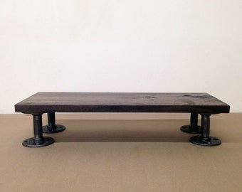 """The """"Sanatoga"""" Monitor Stand - Reclaimed Wood & Pipe"""