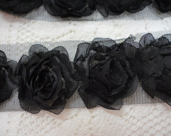 "Shabby Chiffon Black Organza Roses on Tulle 2"" Wide Roses Trim BTY"
