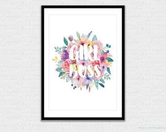 INSTANT DOWNLOAD Girl Boss Printable Print | Wall Art | Office Decor | Watercolour Florals | Typographic Print | A4 | US Letter