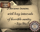 Edgar Allan Poe Sanity Quote Autograph Book Sheet Printable Aged Paper Digital Ephemera Scrapbook Stationery Supply Photo Old Background