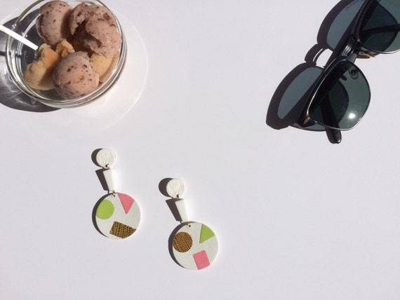 White 'Dolce Vita'  leather and vintage lucite earrings encrusted with lime yellow, vibrant pink and golden leather