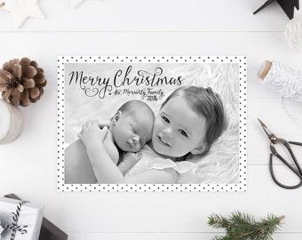 Modern Christmas Card - Heart Print Holiday Greeting Cards - Photo Cards - Printable or Printed