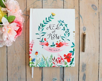 Garden Guest Book • Watercolor Boho Floral Summer Wedding • Wildflowers Outdoor Wedding Custom GuestBook • 8 x 10