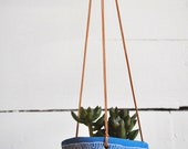 Hanging Planter w/ Arc Design - Blue Ceramic Hanging Pot - Succulent Planter - Hand Carved Pottery - Sgraffito - Plant Decor - Gift for Her