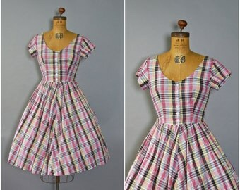 1950's Plaid Dress//Cotton Dress//50's Pink Plaid Dress