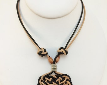 Celtic Witness To Your Splendor necklace in neutral and black leather cord - with celtic button knots and wooden beads