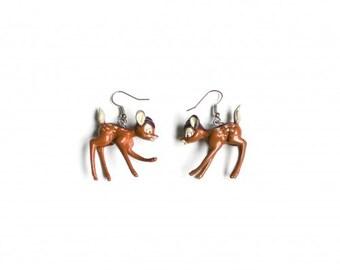 Earrings, Bambi, fawn