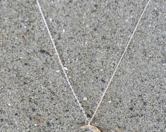 Small Moon Necklace, Crescent Moon, Silver Necklace, Silver Moon, Hammered, Dainty Necklace