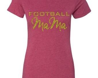Football Mom, Custom Glitter Tee, Vintage Triblend Crew Neck T Shirt, Sports Apparel T Shirt, Personalized Sports Shirt, Football #1 Fan