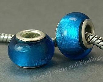 10 pcs Blue Murano foil Glass BEADS for European Style Charms Bracelets - Large Hole Beads -EB056
