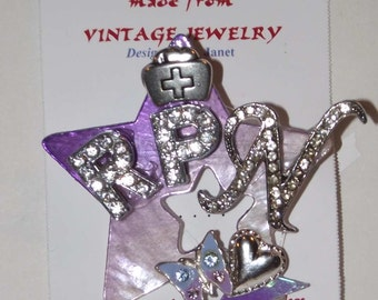 Nurse RPN theme,  1-of-a-kind Collage Brooch and/or Pendant made from vintage jewelry. RPN, purple star, rhinestones, heart, nurse hat. #62.
