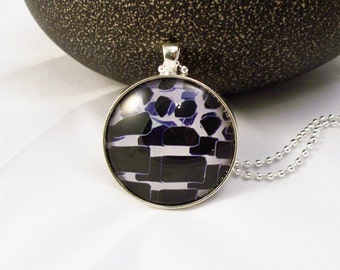 Blue Black White Graphic  Round Glass Pendant Necklace