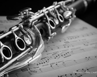 Clarinet Art ~ Musical Instrument Photography, Gift for Musician, Large Art, Music Decor, Black and White Photography, Music Wall Art