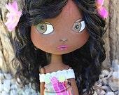 Art doll - Poupée Maïthe Antillaise en tissu 32cm