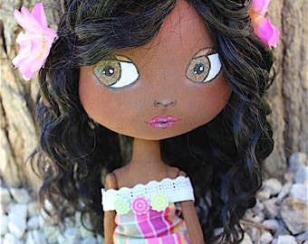 Art doll - Doll 32cm fabric in Caribbean