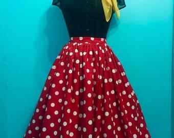 1950s Vintage Style Polka Dot Gathered Full Circle Skirt
