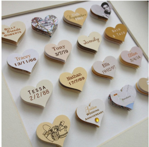 Memorable Wedding Gifts For Parents : 50th Wedding Anniversary Gift // 16 hearts // Golden Wedding artwork