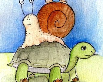 """Handmade postcard with slow animals//""""Forward is forward""""//fun for children's rooms or to send"""