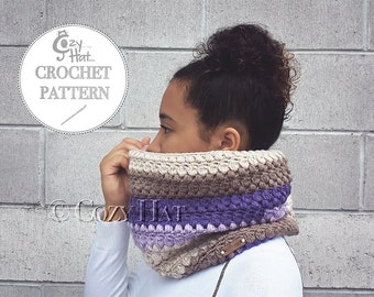 CROCHET PATTERN Pebbles and Pearls Cowl, by Cozy Hat. SALE