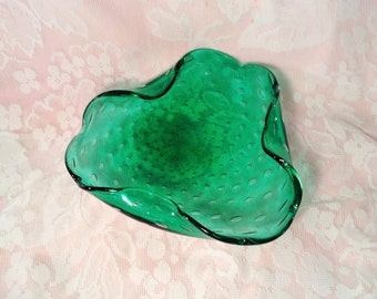Green Blown Glass Bowl with Bubbled Design - Controlled Bubbles Inside Glass - Wavy, Ruffled Trim - Catch all Dish, Table Decor, Centerpiece