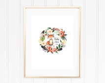 Fox Baby Shower Guest Book, Guestbook with Woodland Wreath