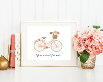 Bicycle Art Print with Quote, Life is a Beautiful Ride, Pretty Pink Nursery Art