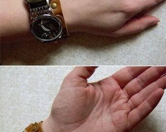 Steampunk Timekeeper's Cuff Bracelet - Leather Cuff With Antique Watch and Clock Parts