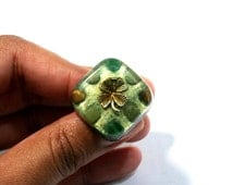 ABUNDANCE Orgonite Ring – Jade, Tiger's Eye and Aventurine Crystal Healing Pendant to Attract Wealth, Money and Prosperity - Square