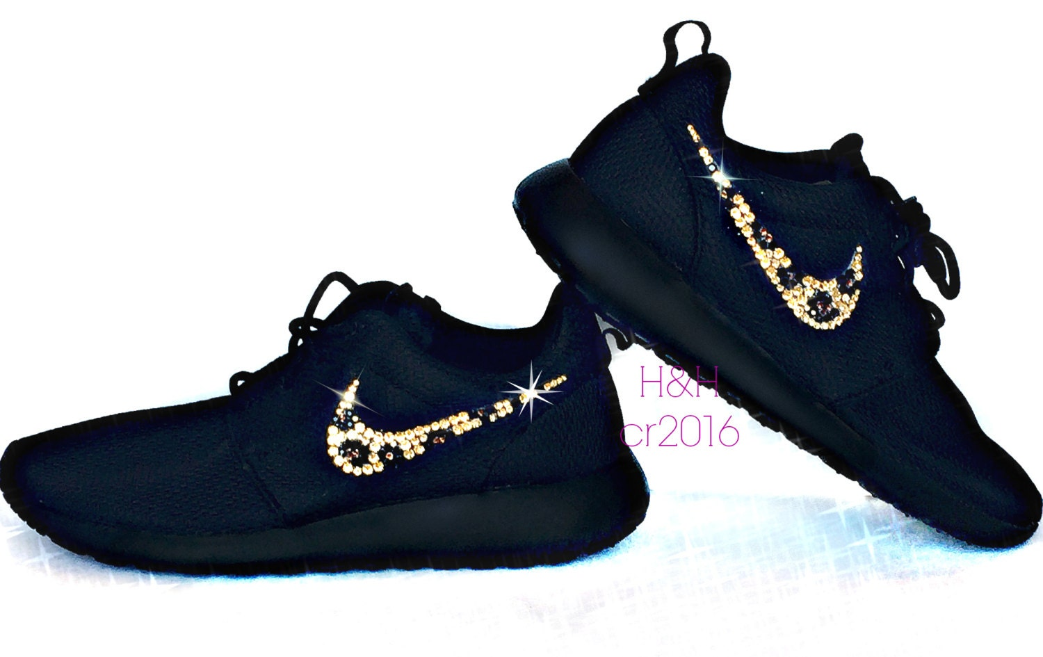women 39 s nike roshe one all black with swarovski crystal. Black Bedroom Furniture Sets. Home Design Ideas