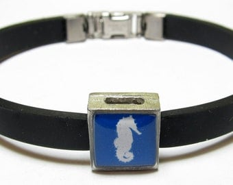 Blue And White Seahorse Link With Choice Of Colored Band Charm Bracelet