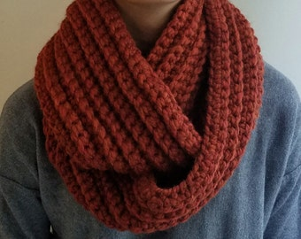 SALE Chunky Textured Cowl Infinity Scarf Shawl Hood, Orange, Burnt Orange