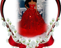 "Valentine Ballgown ""Sweet Romance"" with Feather Trim and Hand Beading. 1:6 Scale Fashion Doll Clothes"