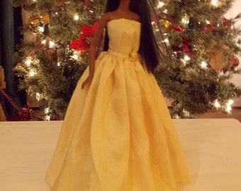 Yellow Silkessence Ballgown. Handmade Barbie Evening Gown.  Handmade Barbie Clothes