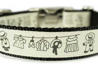 "Personalized Dog Collar Engraved Buckle 1"" Laundry Day Dog Collar"