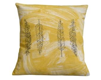 Feather cushion cover.Mustard cushion.