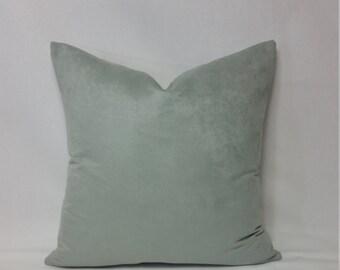 Light Mint Faux Suede Pillow Cover