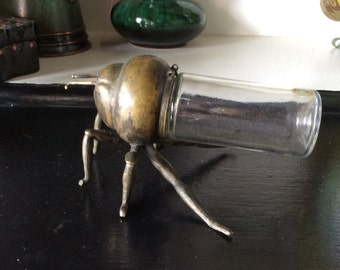 Vintage Solid Brass Bug With Glass Jar