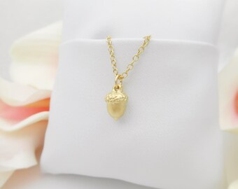 FREE US Ship Tiny Matte Gold Acorn Necklace On Gold Filled Chain Minimalist Gold Acorn Necklace Dainty Gold Acorn Gold Layering Necklace